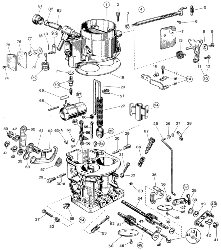 WEBER 28/36 DM A1 parts diagram